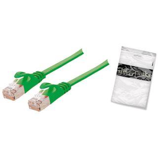 (€0,99*/1m) 10.00m ShiverPeaks Cat. 7 Anschlusskabel U/FTP RJ45 Stecker auf RJ45 Stecker Grün flach