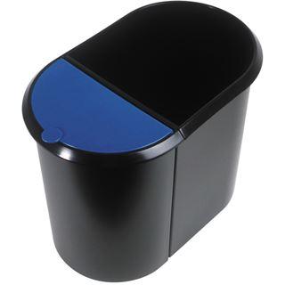 helit Papierkorb Duo-System, oval, PE, schwarz/blau