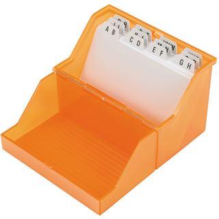 helit Klein-Karteikasten Transluzent, A8 quer, orange