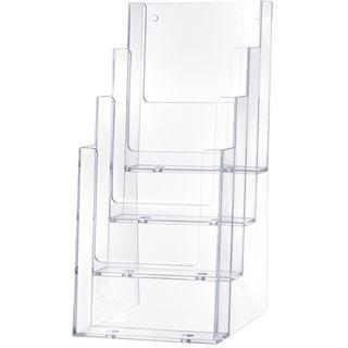 helit Tisch-Prospekthalter, 1/3 DIN A4, 4 Fächer, glasklar