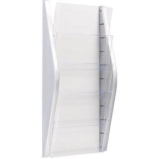helit Wand-Prospekthalter, DIN A4 hoch, 4 Fächer, silber