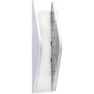 helit Wand-Prospekthalter, 1/3 A4 hoch, 4 Fächer, silber