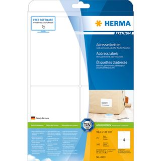 HERMA Universal-Etiketten PREMIUM, 99,1 x 139 mm, weiß