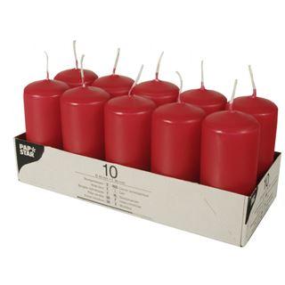 PAPSTAR Stumpenkerzen, 40 mm, rot, 10er Pack