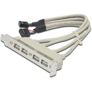 DIGITUS USB 2.0 Slotblech, 4 x USB Port, 0,25 m