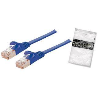 (€19,60*/1m) 0.25m ShiverPeaks Cat. 7 Patchkabel flach U/FTP RJ45 Stecker auf RJ45 Stecker Blau PVC / vergoldet