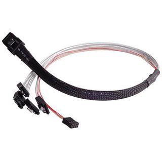 (€59,80*/1m) 0.50m Silverstone SAS Adapterkabel sf/UTP SFF-8087 Stecker auf 4xSATA Stecker Schwarz