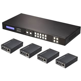 Lindy HDMI & IR Cat.6 Extend 4x4 Matrix Komplettsystem 4K30 IR