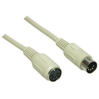 (€2,17*/1m) 1.80m Good Connections DIN 5-Pol Verlängerungskabel 5pol Stecker auf 5pol Buchse beige