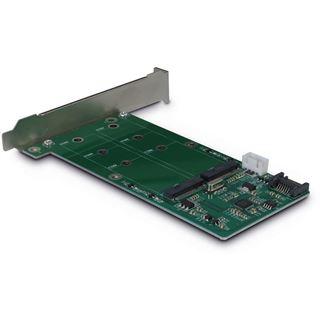Inter-Tech Adapter KT022A, 1x SATA zu 2x M.2 SATA, Card