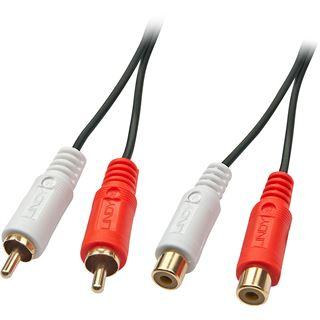 (€3,45*/1m) 2.00m Lindy Audio Verlängerungskabel Cinch Stecker auf Cinch Buchse Schwarz Premium / vergoldet