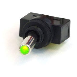 Phobya Kippschalter LED grün - 1-polig AN/AUS schwarz (3pin)