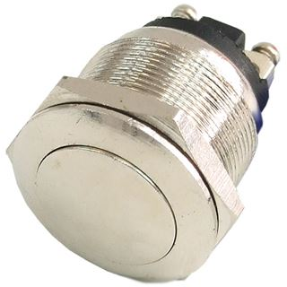Phobya Vandalismus Klingeltaster 19mm Oval - silber vernickelt, ohne Beleuchtung mit Schraubkonta