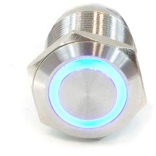 Phobya Vandalismus Klingeltaster 25mm Edelstahl, blau Ring beleuchtet 6pin