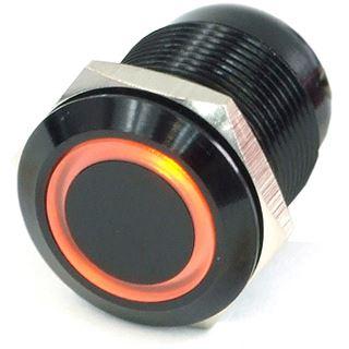 Phobya Vandalismus Klingeltaster 19mm Alu schwarz, orange beleuchtet, mit Schraubkontakten