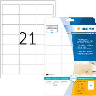 HERMA Folien-Etiketten SPECIAL, 63,5 x 38,1 mm, transparent