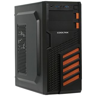 Cooltek KX Midi Tower ohne Netzteil schwarz/orange