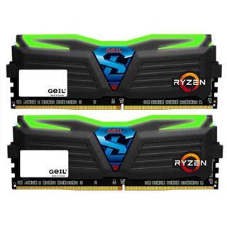 8GB GeIL Ryzen Super Luce grüne LED schwarz DDR4-2400 DIMM CL16