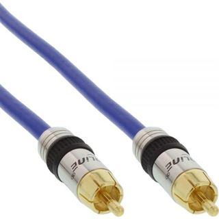 (€2,97*/1m) 3.00m InLine Audio/Video Anschlusskabel Premium-Line Cinch Stecker auf Cinch Stecker Blau vergoldet