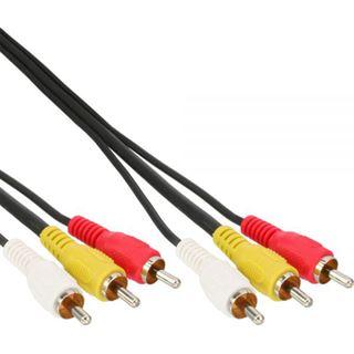 5.00m InLine Audio/Video Anschlusskabel 3xCinch Stecker auf 3xCinch Stecker Schwarz