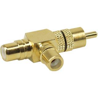 InLine Audio Adapter gewinkelt Cinch Stecker auf 2xCinch Buchse Gold