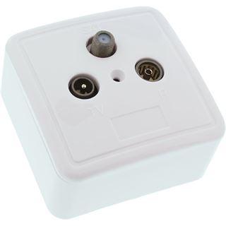 InLine Antennensteckdose AP/UP Set Koax Stecker + Koax Buchse auf F Stecker Weiß geschirmt