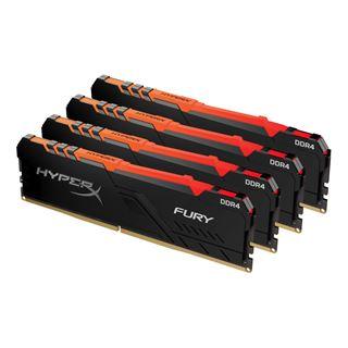 64GB HyperX Fury RGB, DDR4-2400 DIMM, CL15, Quad-Kit (4x16GB)