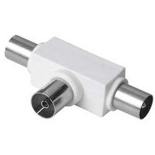 Hama Adapter Standard Koax Buchse auf 2 Koax Stecker Weiß geschirmt