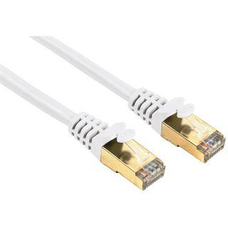 (€2,38*/1m) 5.00m Hama Cat. 5e Patchkabel S/UTP RJ45 Stecker auf RJ45 Stecker Weiß vergoldet