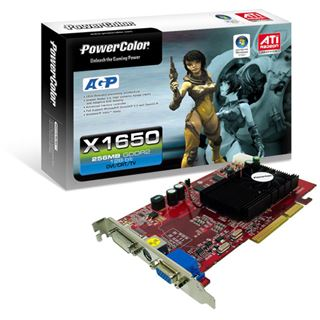 256MB PowerColor Radeon X1650 DVI TVOut AGP bulk