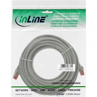 (€0,60*/1m) 20.00m InLine Cat. 6 Patchkabel S/FTP PiMF RJ45 Stecker auf RJ45 Stecker Grau PVC