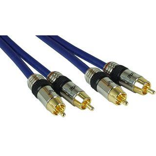 (€3,13*/1m) 7.00m InLine Audio Anschlusskabel Premium-Line 2xCinch Stecker auf 2xCinch Stecker Blau vergoldet