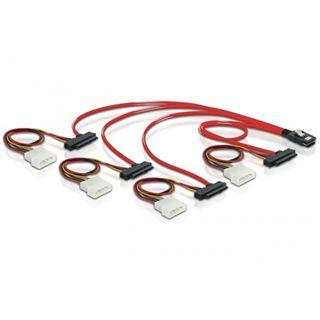 (€53,80*/1m) 0.50m Delock SAS 3Gb/s Verbindungskabel mini SAS 36 Pin auf 4xSFF-8482 Schwarz/Rot/Gelb