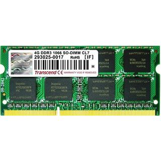 4GB Transcend ValueRAM DDR3-1066 SO-DIMM CL7 Single