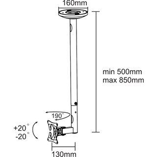 "NewStar LCD Deckenhalterung 10"" (25,4cm) -30"" (76,2cm)"