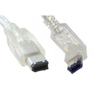 2m Firewire IEEE1394 Anschlusskabel transparent 6pol Stecker auf 6pol Stecker oben abgewinkelt