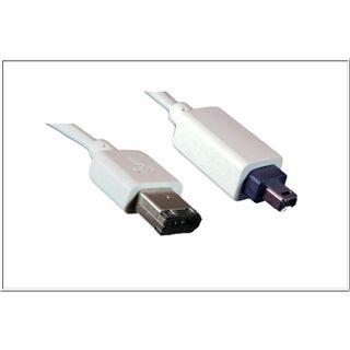1.00m Good Connections FireWire400 Anschlusskabel 4pol Stecker auf 6pol Stecker Weiß