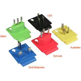 Good Connections Stromadapterset Schutzkontakt Buchse auf Stecker UK, Italien, USA, Schweiz, Australien Schwarz/Rot/Gelb/Weiß