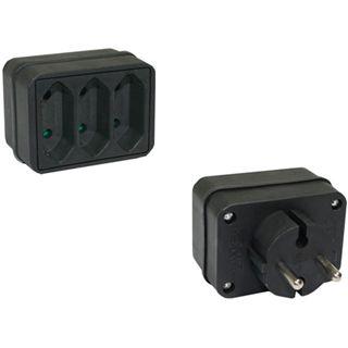 Good Connections Stromadapter Schutzkontakt Stecker auf 3xEuro Buchse Schwarz