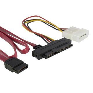 """0.75m Good Connections SAS 3Gb/s Anschlusskabel SFF-8482 Stecker auf SATA Stecker + 5,25"""" Molex Strom Stecker Rot"""