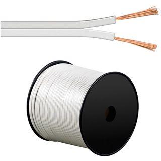 100.00m Good Connections Audio Lautsprecherkabel Standard ohne Stecker auf Weiß auf Spule/2x 0,75mm²
