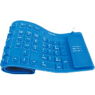 LogiLink Flexible Waterproof Keyboard PS/2 & USB Deutsch blau (kabelgebunden)