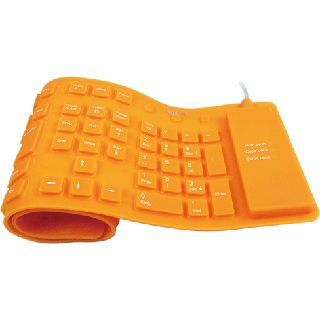 LogiLink Flexible Waterproof Keyboard PS/2 & USB Deutsch orange (kabelgebunden)