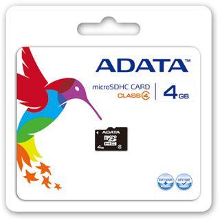 4 GB ADATA Standard microSDHC Class 4 Retail inkl. Adapter