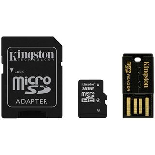 16 GB Kingston Multi Kit G2 microSDHC Class 4 Retail inkl. Adapter
