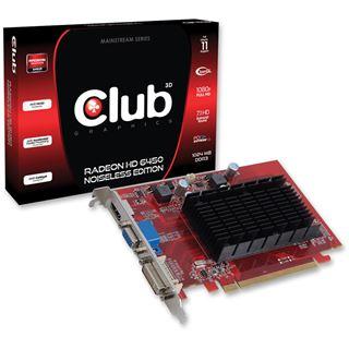 1GB Club 3D Radeon HD 6450 Noiseless Edition Passiv PCIe 2.1 x16 (Retail)