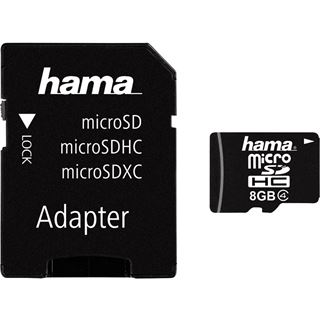 8 GB Hama Mobile microSDHC Class 4 Retail inkl. Adapter