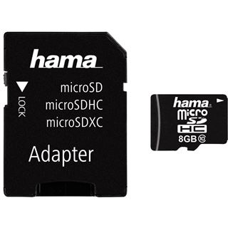8 GB Hama High Capacity microSDHC Class 10 Retail inkl. Adapter