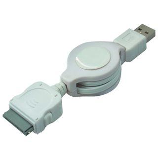 0,75m iPhone/iPod Lade & Datenkabel ausziehbar weiß USB A Stecker auf 30pol iPhone Stecker