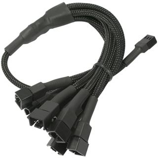 Nanoxia 60 cm schwarzes Adapterkabel für 3-Pin Molex zu 9x 3-Pin